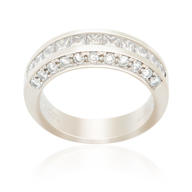 18ct white gold princess and dress ring