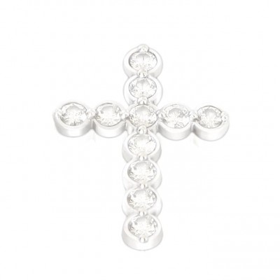 18ct wg diamond cross